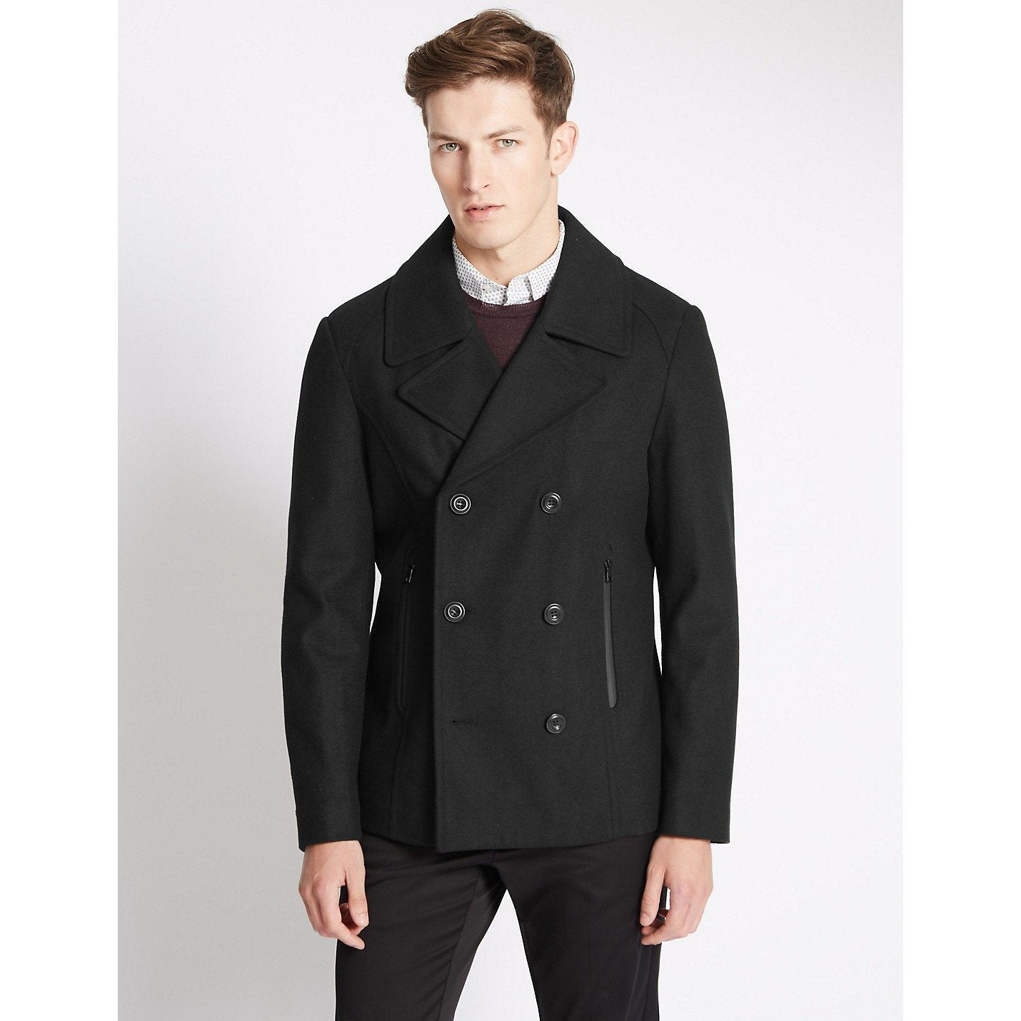ecdcebf5c8085 Hover to zoom · MARKS & SPENCER - Double Breasted Peacoat (limited edition)  - Top Notch, ...