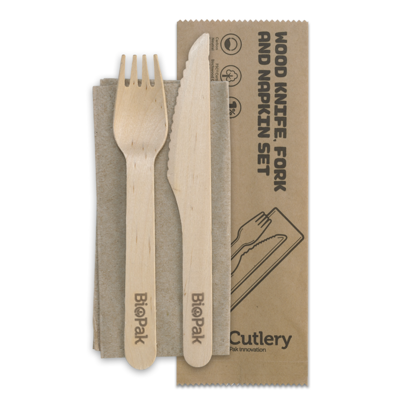 16cm Wood Knife, Fork & Napkin Set - HY-16KFN