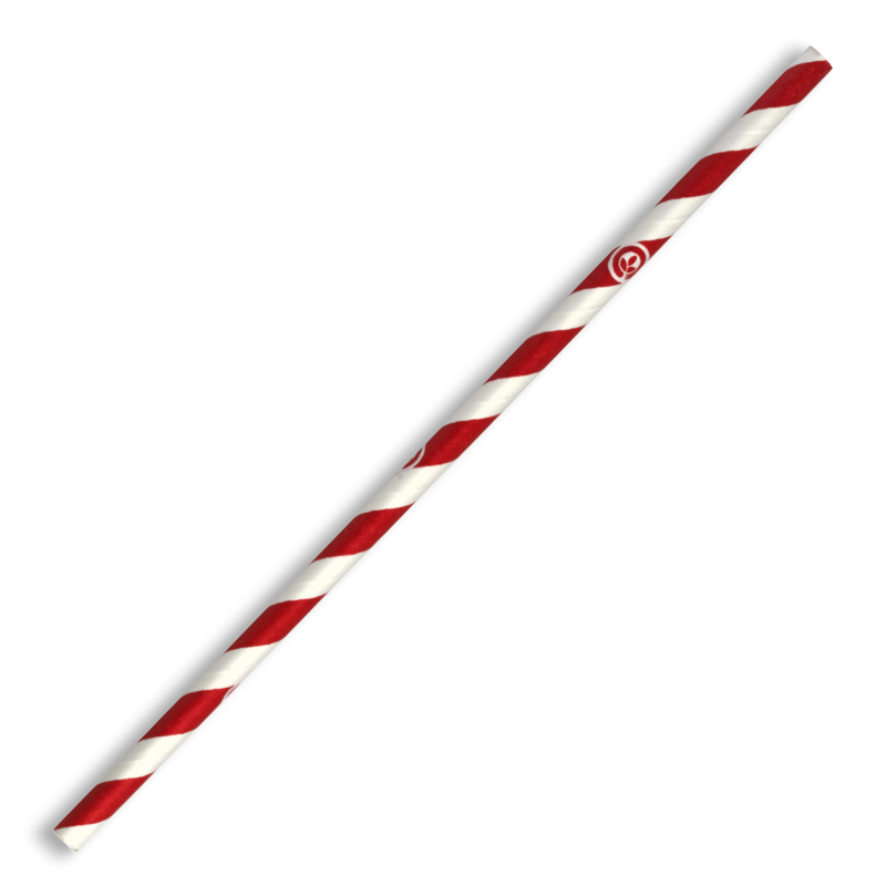 6mm Regular Red Stripe BioStraw - JP-PBS-6X197-RS