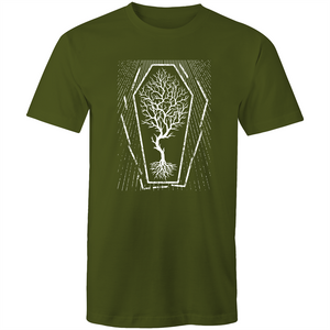 EARTH DAY 2020- GLOBAL WARMING TREE IN COFFIN T-SHIRT ARMY GREEN