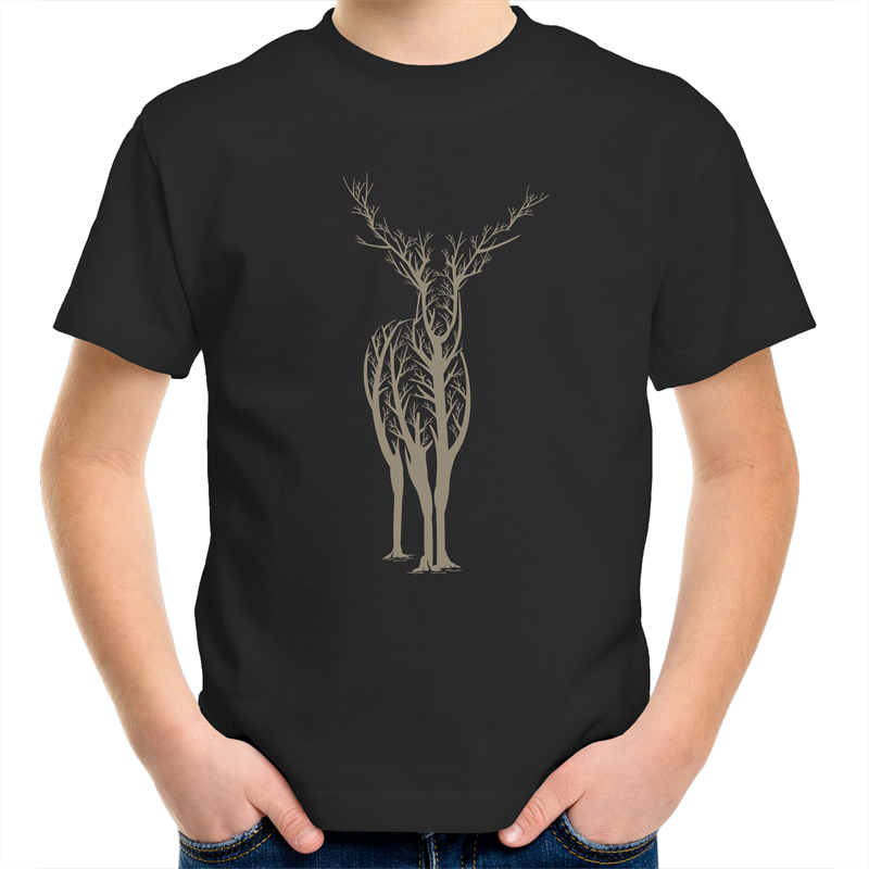 EARTH DAY 2020- DEER TREE SILHOUETTE KIDS TEE- BLACK