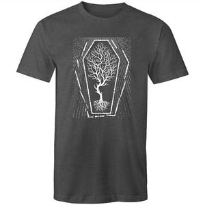EARTH DAY 2020- GLOBAL WARMING TREE IN COFFIN T-SHIRT CHARCOAL