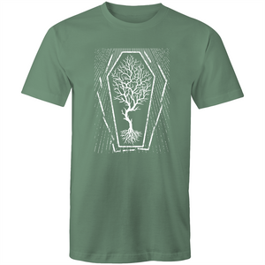 EARTH DAY 2020- GLOBAL WARMING TREE IN COFFIN T-SHIRT SAGE