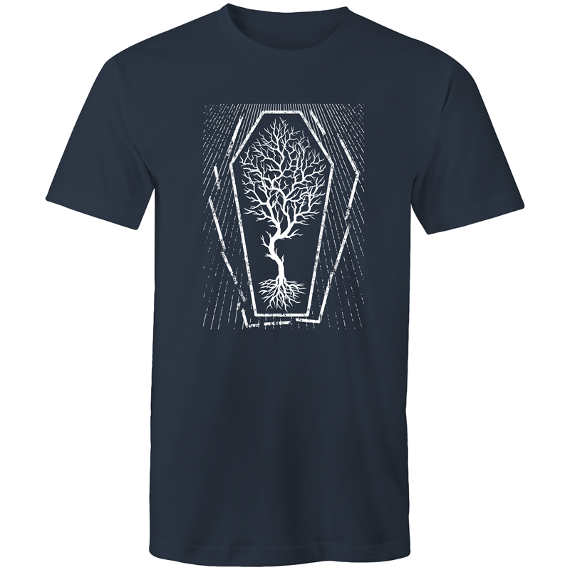 EARTH DAY 2020- GLOBAL WARMING TREE IN COFFIN T-SHIRT NAVY