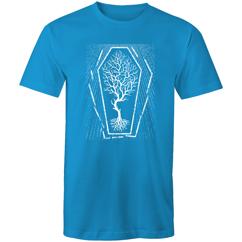 EARTH DAY 2020- GLOBAL WARMING TREE IN COFFIN T-SHIRT ARCTIC BLUE