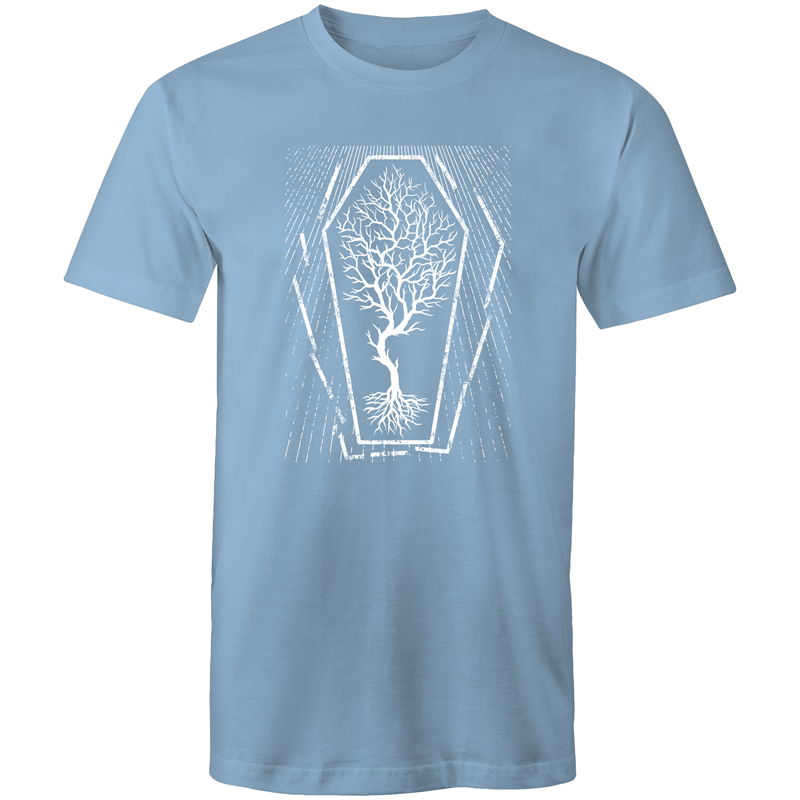EARTH DAY 2020- GLOBAL WARMING TREE IN COFFIN T-SHIRT CAROLINA BLUE
