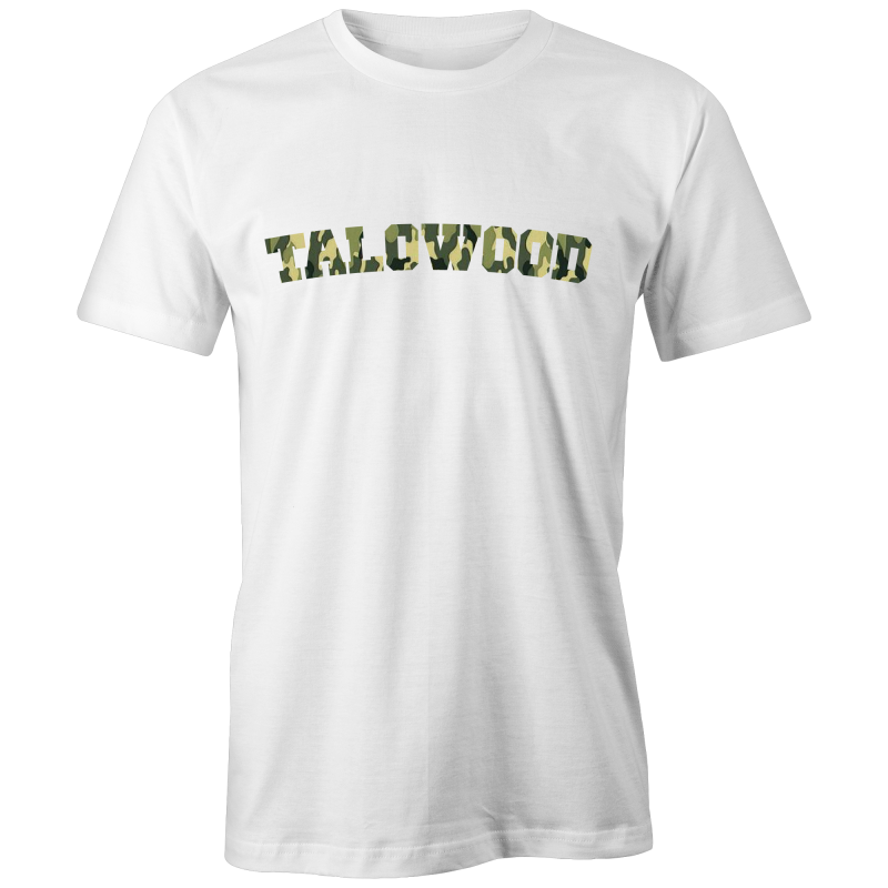Talowood Fair Trade Organic Cotton Camouflage Logo Tee Shirt White