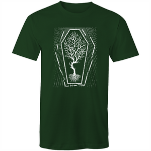 EARTH DAY 2020- GLOBAL WARMING TREE IN COFFIN T-SHIRT FOREST GREEN