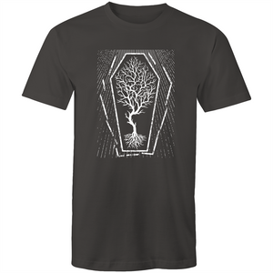 EARTH DAY 2020- GLOBAL WARMING TREE IN COFFIN T-SHIRT ASPHALT