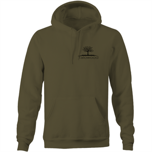 High quality 100% cotton hoodie with Talowood Tree Logo army green