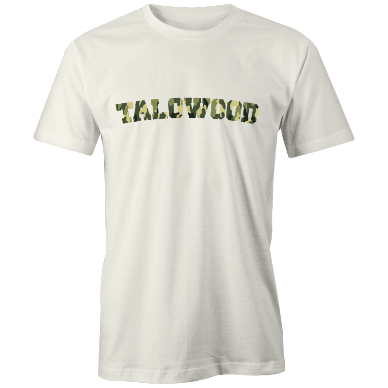 Talowood Fair Trade Organic Cotton Camouflage Logo Tee Shirt Natural