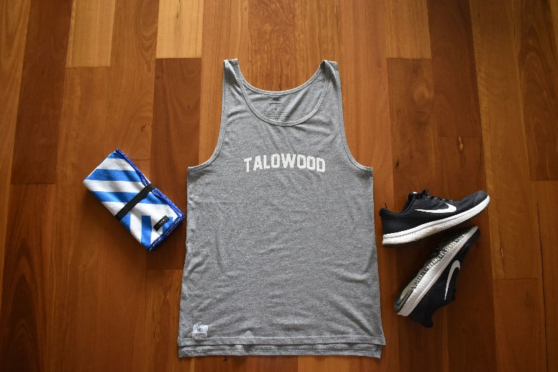 TALOWOOD GREY DROP BACK SINGLET