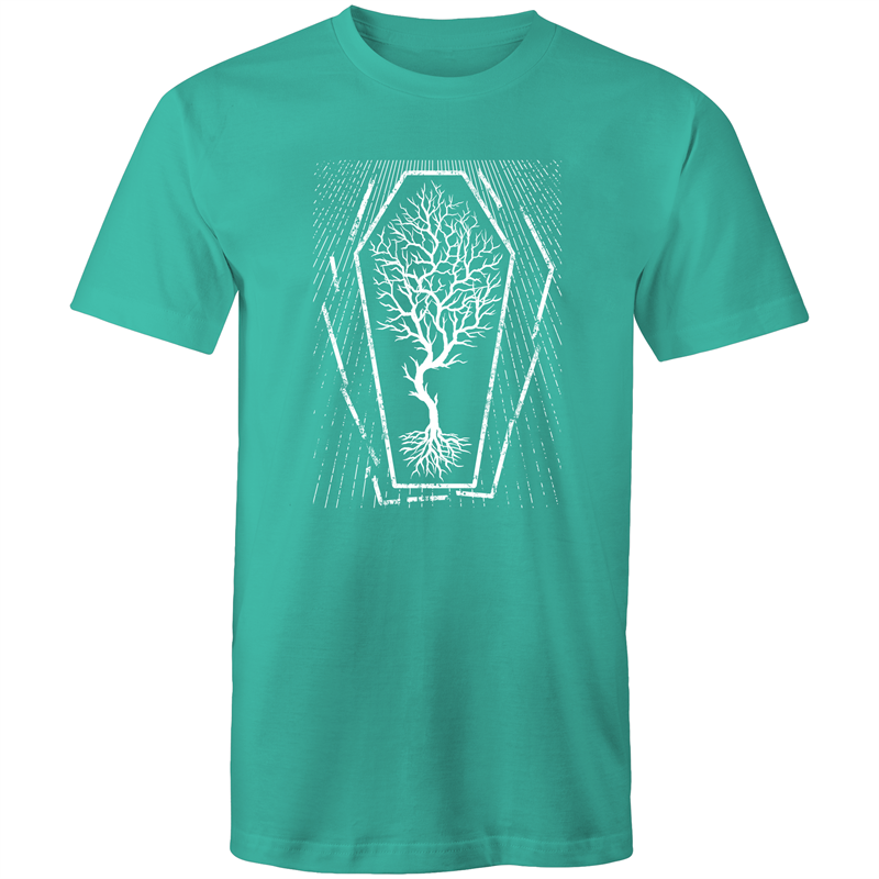 EARTH DAY 2020- GLOBAL WARMING TREE IN COFFIN T-SHIRT TEAL