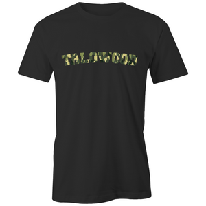 Talowood Fair Trade Organic Cotton Camouflage Logo Tee Shirt Black