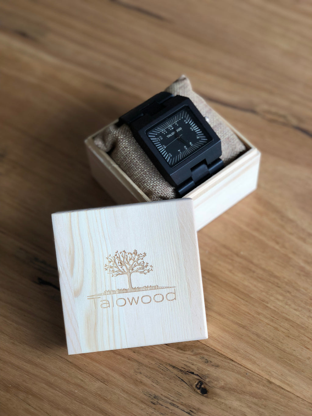 TALOWOOD THE BIG BOY HAND MADE WOODEN WATCH DARK WALNUT