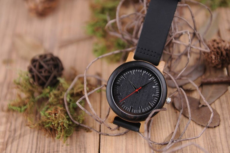 THE BOSS BAMBOO WATCH WITH LEATHER BAND.