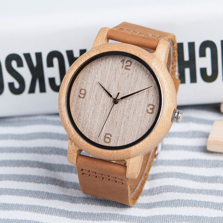 Elke handcrafted bamboo leather band watch