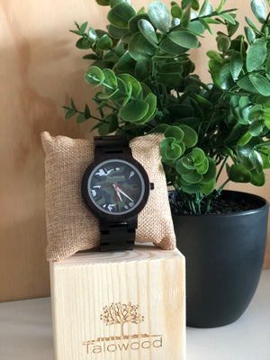 Talowood handcrafted walnut wood camo watch