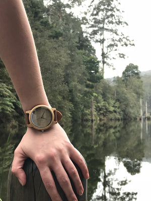 Taiah Lee Handcrafted Bamboo and Leather wood watch