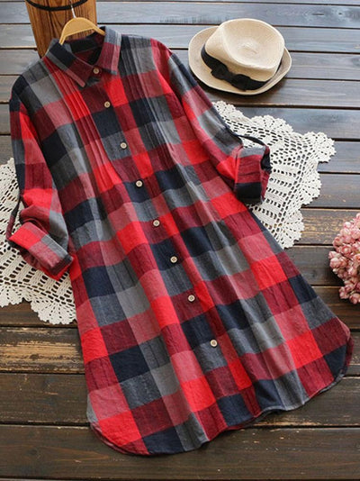 Retro Plaid Long Sleeve Long Shirt
