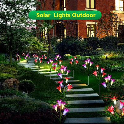 【buy 2 get extra 10% OFF+FREE SHIPPING】Artificial Lily Solar Garden Stake Lights (1 Pack of 4 Lilies)