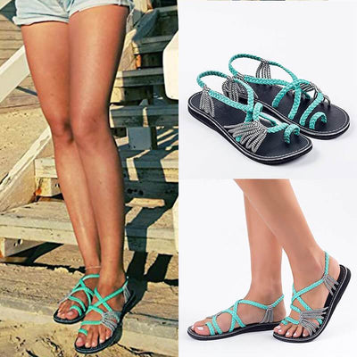 【Buy 2 Get 10% Off & Free Shipping】Women's Summer Beach Handmade Ring Toe Braided Flat Sanda