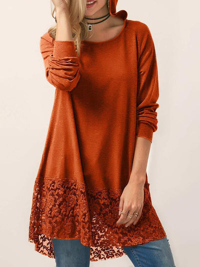 Long Sleeve Hooded Lace Hem Tops【60% OFF】