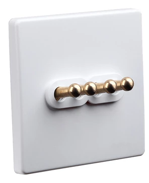 Classic White 4 Gang Brass Toggle Switch