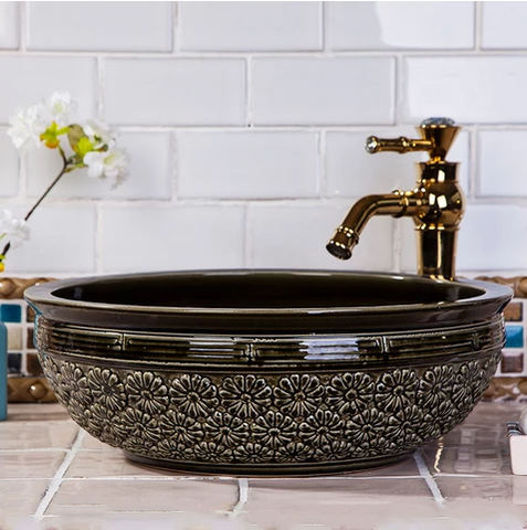 Black Ceramic Basin #201764