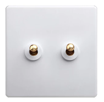 Classic White 2 Gang Brass Toggle Switch