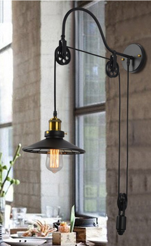 Vintage Industrial Retractable Wall Light #1811