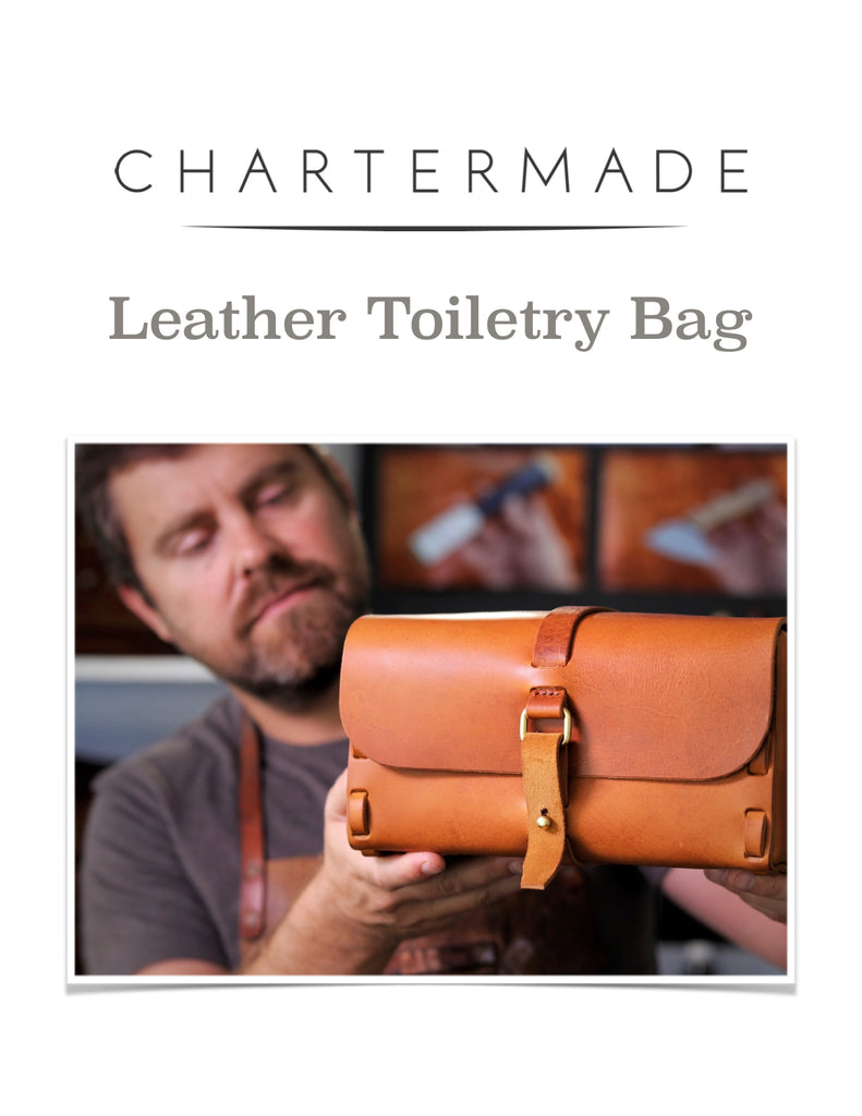 Leather Toiletry Bag Pattern with Illustrated Instruction Manual