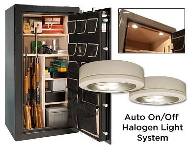 Auto on/off halogen light system for the Liberty Lincoln gun safes
