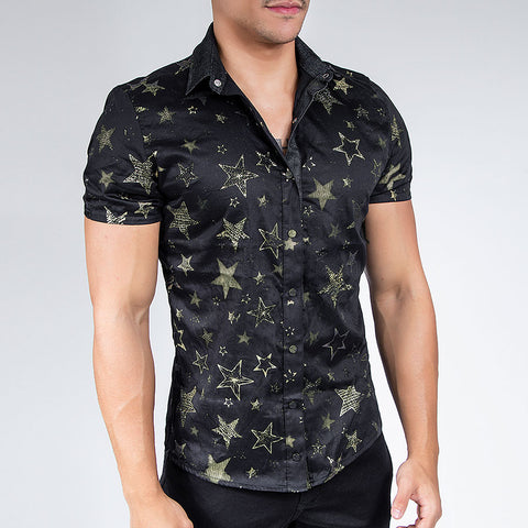 Men's Pop Stars Button Up Shirt, 28516