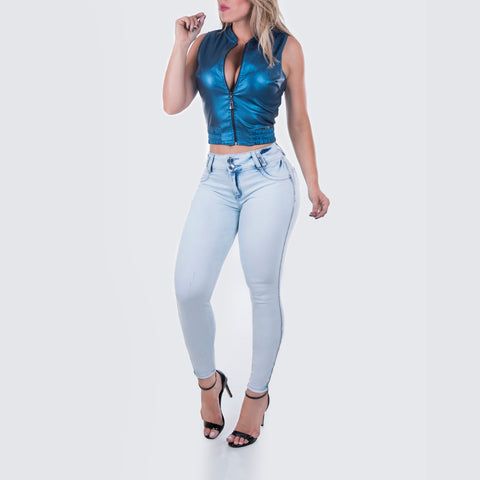Women's Metalic  Blue Cropped Top - 27594