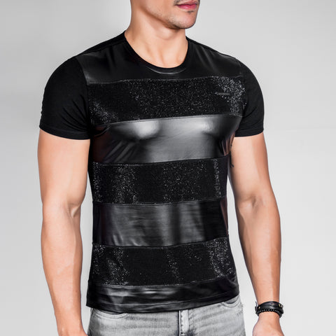 Men's Black & Black T-Shirt, 29095