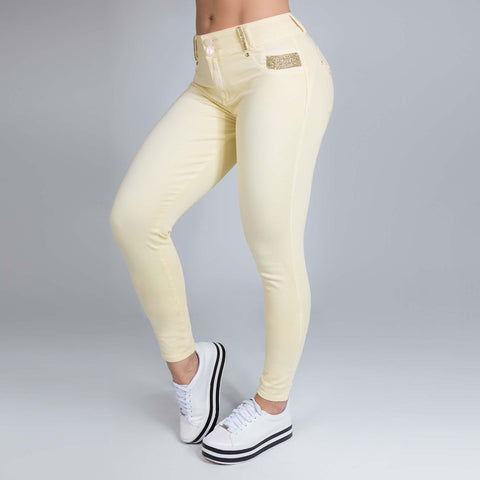 Women's Light Yellow Skinny Jeans - 29292