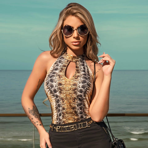 Women's Halter Animal Print Rio Bodysuit, 29670