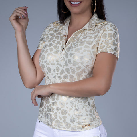 Women's Golden Animal Print Polo, 29722