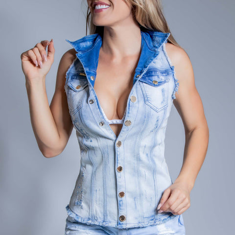 Women's Denim Trucker Vest, 29921