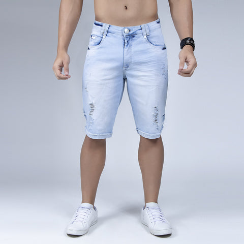 Men's Light Blue Denim Shorts, 30175