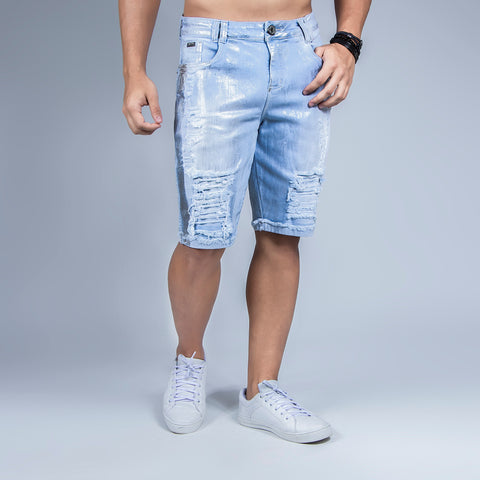 Men's Ripped Silver Denim Shorts, 30384
