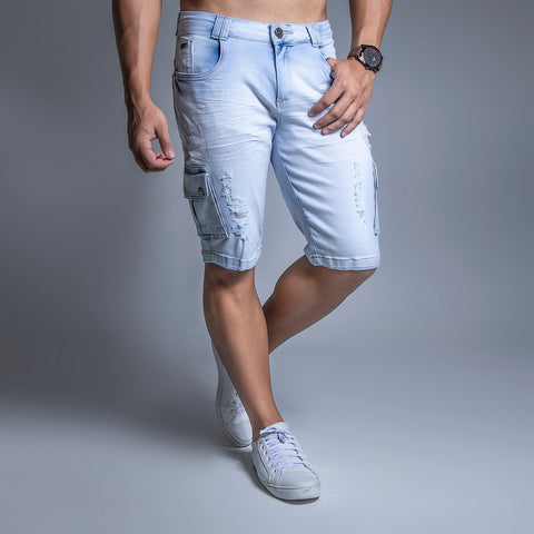 Men's Denim Cargo Shorts, 30587