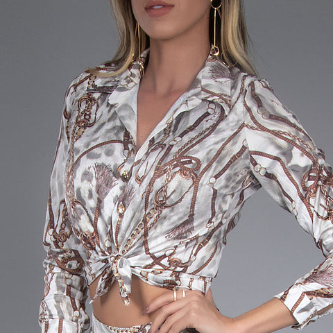 Women's Button-Up Tied Blouse, 31044