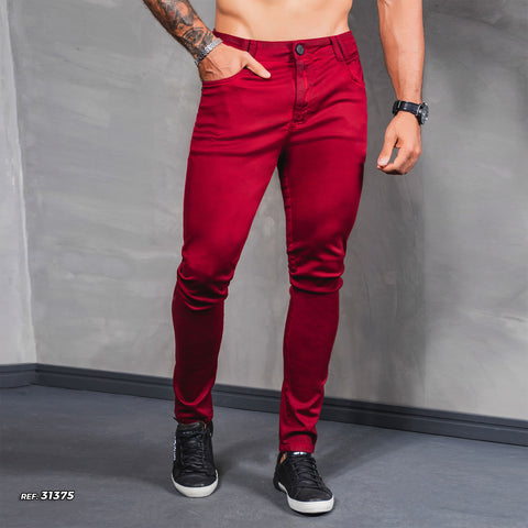 Men's Full Red Slim Jeans  - 31375
