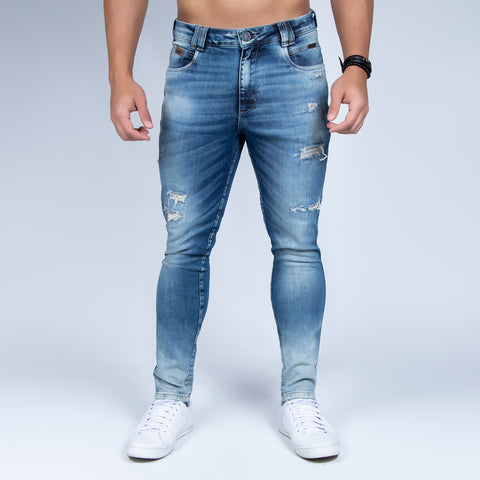 Men's Washed Denim Slim Jeans, 31379