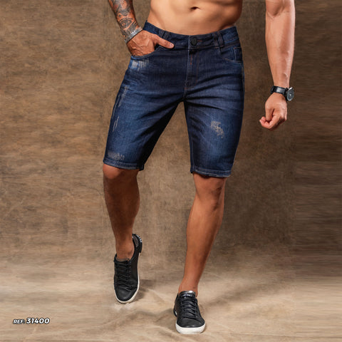 Men's Dark Blue Denim Shorts - 31400