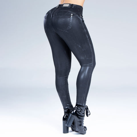 Women's Metallic Black Skinny Jeans, 32443