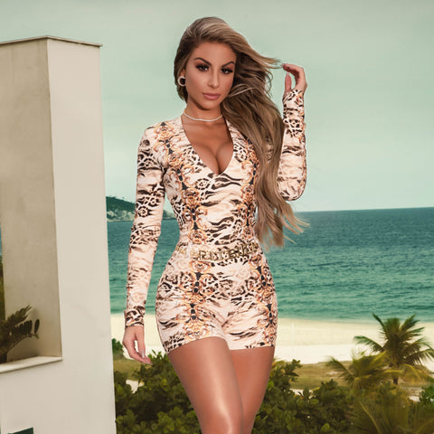 Women's Animal Print Long Sleeves Romper, 32504