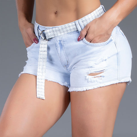 Women's Belted Denim Shorts, 32597